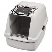 Arenero cubierto Catit White Tiger - Blanco con dibujos de tigre