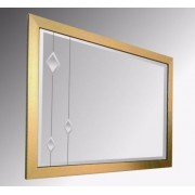Leaded Clear Diamonds 48X24 Gold Brushed Frame