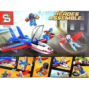 RIANZ All New Super Heroes Building Blocks Mini America Captain Figure with Jet Fighter and More Toys Gift ( 186 Pcs )