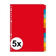 Geen 5x A4 tabbladen sets gekleurd 180 grams