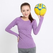 Tops Mujer Ajustados Camisetas Deporte Gym Running Manga Larga Púrpura