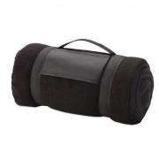 Geen Fleece deken/plaid zwart met afneembaar handvat 160 x 130 cm