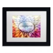 "Trademark Fine Art ""Imagine Sign"" Canvas Art by Adam Kadmos White Matte, Black Frame"