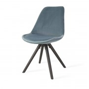 Essence Legno velvet eetkamerstoel - Blauw - Zwart houten onderstel