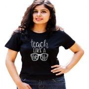 HEYUZE Quote Teach Like A Boss Black Printed Women Cotton T-Shirts