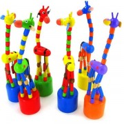 Giraffe Shaped Wood Standing Colorful Intelligence Toys Child Growing Toy