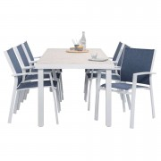 Le Sud tuinset Toulon stapelstoel - blauw/wit - 7-delig - Leen Bakker