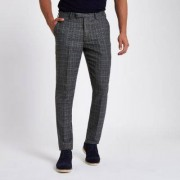 River Island Mens Grey heritage check slim fit suit trousers