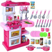 Kids Pretend Role Play Sound Light 28Pcs Kitchen Tools Seasoning Set Funny Developmental Toys