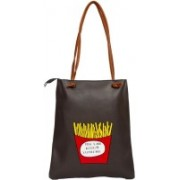 Aliado Faux Leather Solid Black Zipper Closure Tote Bag Multicolor Shoulder Bag