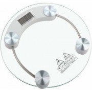ziork Personal Weight Machine 8mm Thick Round Transparent Glass Weighing Scale(White)