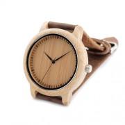 Jednoduché drevené hodinky s pravým koženým remienkom