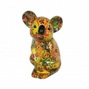 Pomme Pidou Spaarpot koala geel met bloemen print 20 cm type 5