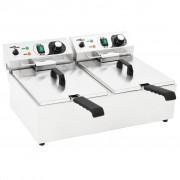 vidaXL Двоен електрически фритюрник, неръждаема стомана, 20 л, 6000 W