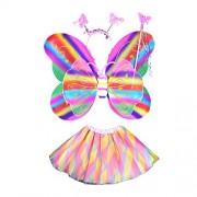 Amosfun Girl's Fairy Butterfly Wings Costume with Wand Headband Tutu Skirt