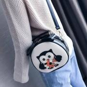 Uil patroon Contrast kleur Patent PU lederen schoudertas Messenger tas dames handtas kleine ronde tas (zwart)