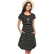 Halife Vestido de verano casual a rayas, cintura elástica, suelto, playero, midi, Negro, M