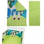 Спален комплект от 3 части за бебешка кошара Joy line, toTs, зайчета зелен, 011210