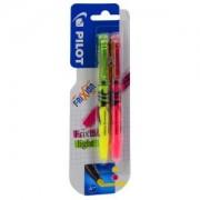 Pilot Pen (Deutschland) GmbH PILOT Frixion Light Textmarker, medium, Innovativer, radierbarer Farbstift mit mittlerer Spitze, 1 Packung = 2 Stück, gelb/pink