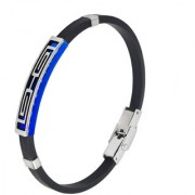 Sullery Vintage Biker Best Friend Wristb With Stainless Steel Foldover Clasp Black Blue Silicon Bracelet
