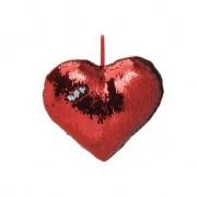 Geen Sierkussen hartje rood metallic met draaibare pailletten 30 cm Rood