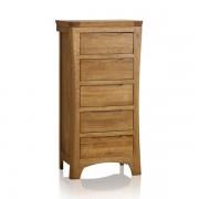 Oak Furnitureland Rustic Solid Oak Chest of Drawers - Tallboy - Orrick Range - Oak Furnitureland