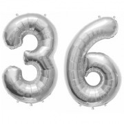 Stylewell Solid Silver Color 2 Digit Number (36) 3d Foil Balloon for Birthday Celebration Anniversary Parties