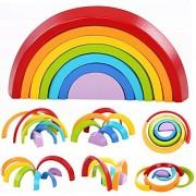 zhenyu Wooden Block Rainbow Kids Children Building Blocks Wooden Toys Baby Early Learning Montessori Educational