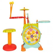 BEST SELLER PoshTots kids High quality Imported Boy Birthday Gift Melodious Jazz Drum with sweet songs, melodies, microphone and sitting stool for kids gift toy