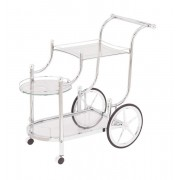 Chrome frame and tempered glass shelves tea serving cart with casters and large back wheels
