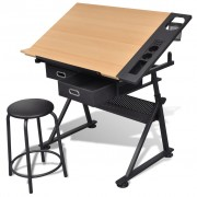 vidaXL Two Drawers Tiltable Tabletop Drawing Table with Stool