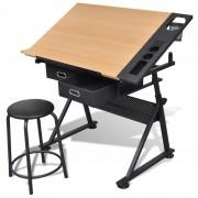 vidaXL Náklopný kreslicí stůl s židlí a dvěma zásuvkami