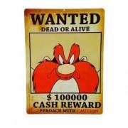 Placa Decorativa de Metal Recortada Eufrazino Yosemite Procurado Looney Tunes