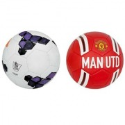 Premier League Purple/White + Manchestor United MAN UTD Red/White Football (Size-5) Pack of 2 Footballs