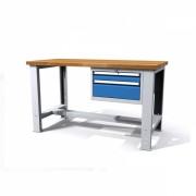 TechnoBank Profi dílenský stůl 150 cm se stavitelnou nohou, 2 zásuvky modrá - ral 5012