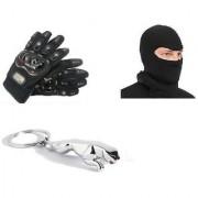 Combo Of Pro Biker Gloves + Full Face Mask+Jaguar Key Chain
