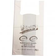 Shopper biodegradabile No Brand - 33594X Sacchetti biodegradabili 30 + 20 X 60 cm in hd pe (cartene) di grammatura 13 g/mq e di colore bianco in confezione da 500 Pz.