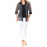 Ladies Black & White Striped Zip Top