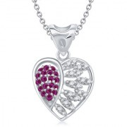 VK Jewels Ruby & AD Studded Heart Shape Rhodium Plated Alloy Pendant for Women & Girls made with Cubic Zirconia- P1307R [VKP1307R]
