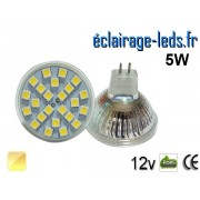Ampoule LED MR16 24 led smd 5050 blanc chaud 12v ref mr16-02