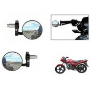 Kunjzone Bike Handle Grip Rear View Mirror BLACK Set Of 2- For TVS Star City Plus