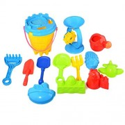 Fcoson 25 Pcs Kids Beach Sand Toys Set Bucket, Watering Can, Shovel, Rakes,and More Molds for Kids Toddlers Boys