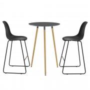 [en.casa]® Комплект кръгла дизайнерска бар маса с 2 стола, Тъмносив/Черен