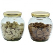 Glazzure Cute 350 ml Apple Shaped Airtight Matki Glass Jar Containers for Dry Fruits Spices & other Kitchen Items with Rust Proof Golden Color Caps Set of 2 pcs