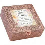 Cottage Garden Friend Joy Sunshine Love Stamped Copper 6 x 6 Metal Music Box Plays That's What Friends Are For