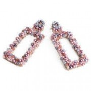 Cercei handmade cristale si perle Swarovski Roz Argintiu