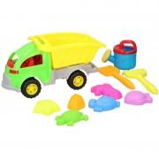 Merkloos Zandbak speelgoed groene truck/kiepwagen 10-delig 33 cm - Action products