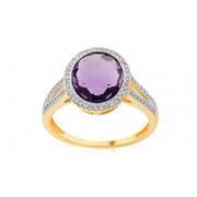 Zlatý ametystový prsten s diamanty 0,200 ct IZBR702
