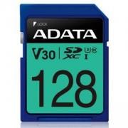 Карта памет 128GB SDXC A-Data Premier Pro, Class 10 UHS-I U3 (V30S), скорост на четене 100 MB/s, скорост на запис до 80 MB/s, 128GB SDXC UHS-I U3 V30S