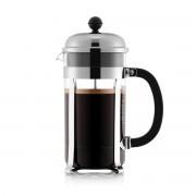 Bodum CHAMBORD® Cafetière à piston, 8 tasses, 1.0 l, en TRITAN et acier inox Transparent